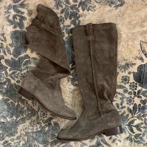 Frye Gray Suede Slouch Cara Boots In Elephant